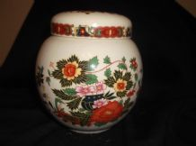 ELEGANT SMALL GINGER JAR & LID BOLD COLOURS ORIENTAL BLOSSOM DESIGN SADLER